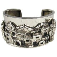 Carol Felley Story Teller Sterling Silver 1989 Cuff Bracelet