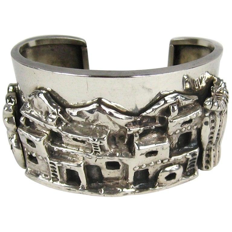 Carol Felley Story Teller Sterling Silver 1989 Cuff Bracelet For Sale