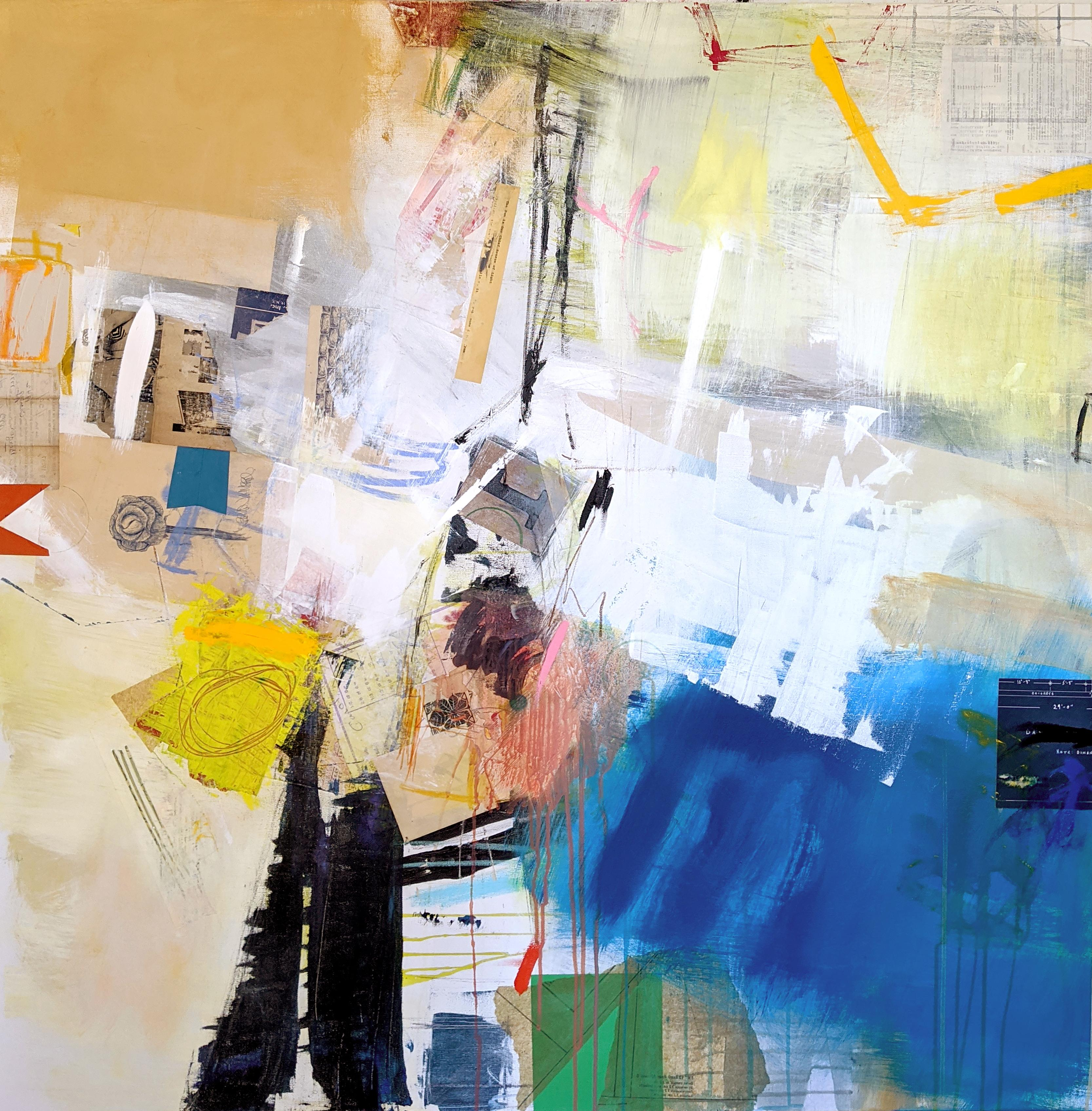 BRING ON THE SUN - blue, white and yellow abstract painting