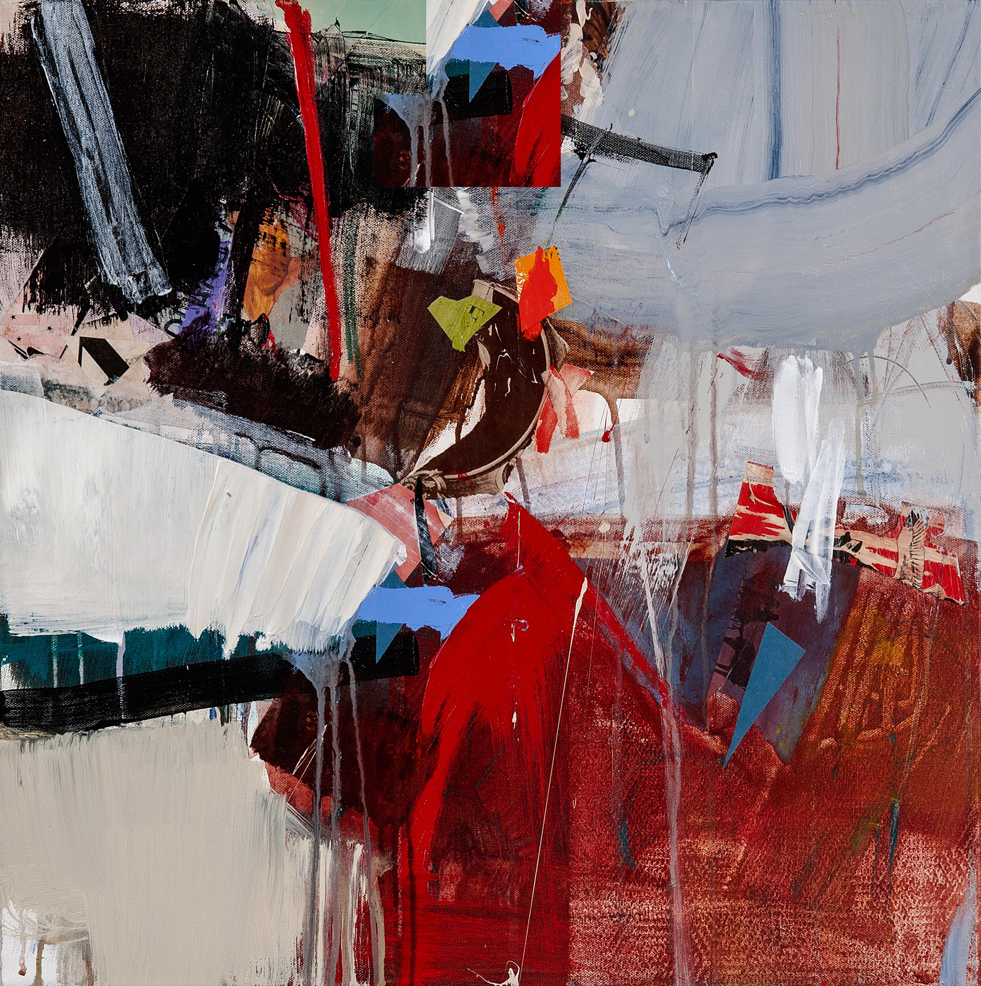 EXPEDITION - red, gray and blue abstract painting