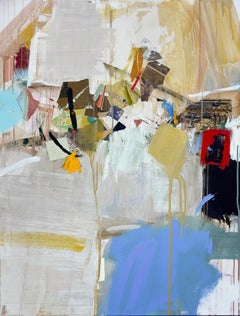 NAVIGATE - yellow, white and blue abstract painting