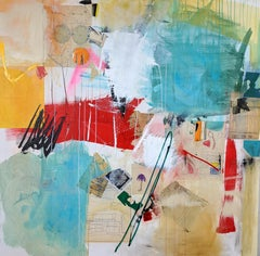 PERFECT TIMING - blue, red and yellow abstract painting