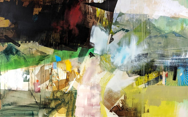 Carol Gove Abstract Painting - TRAVERSE - abstract painting with yellow and green