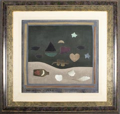 "Folk Art Collage Painting ""Letter in a Bottle"" Carol Jablonsky Woman Artist"