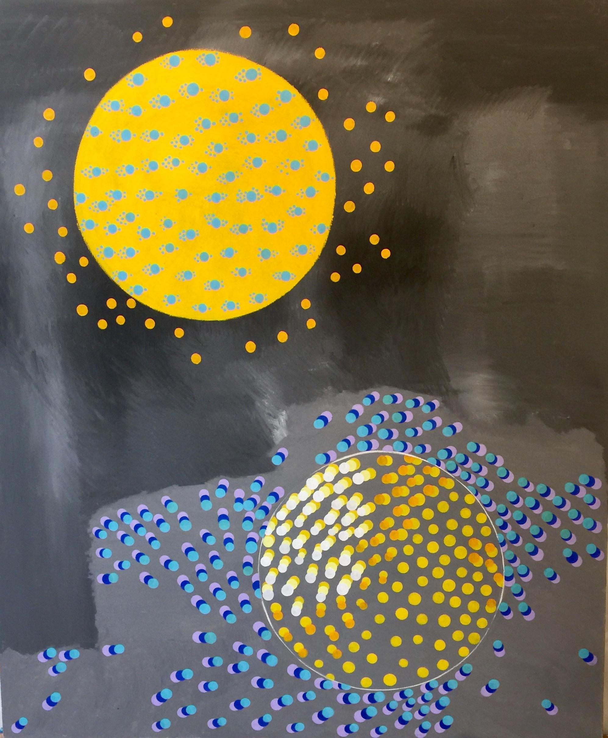Large Pop Art Painting: 'Lunar Landing'
