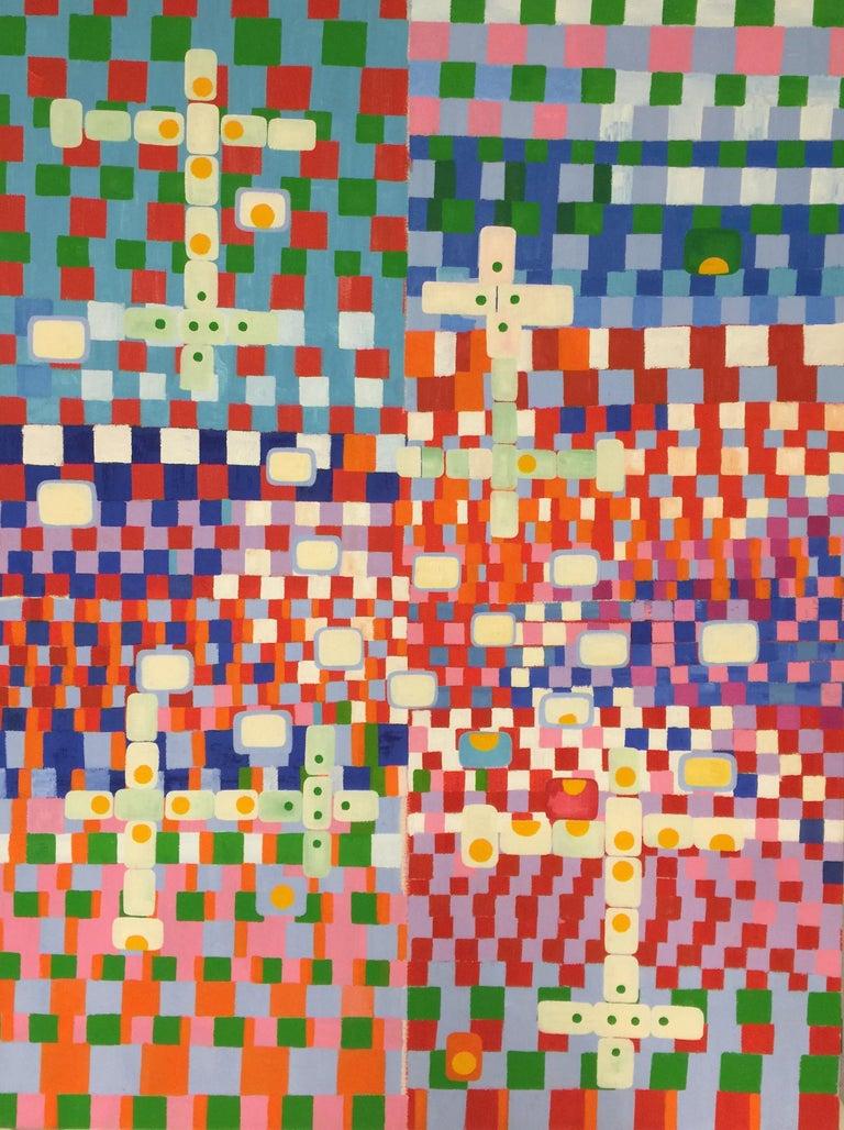 Carol John Abstract Painting - Pop Art Oil Painting on Canvas: 'Dominos'