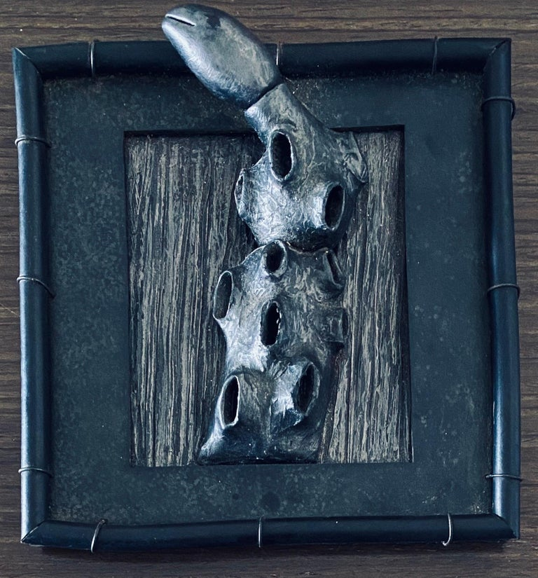 Abstract Mixed Media Biomorphism Wall Sculpture. Miami Artist Carol K Brown   - Black Abstract Sculpture by Carol K. Brown