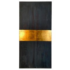 "Carol Post, ""Blue with Gold"", Plaster and Acrylic with Gold Leaf on Canvas"