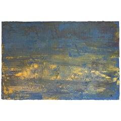 "Carol Post, ""Golden Pond"", Venetian Plaster and Acrylic on Board, 2017"