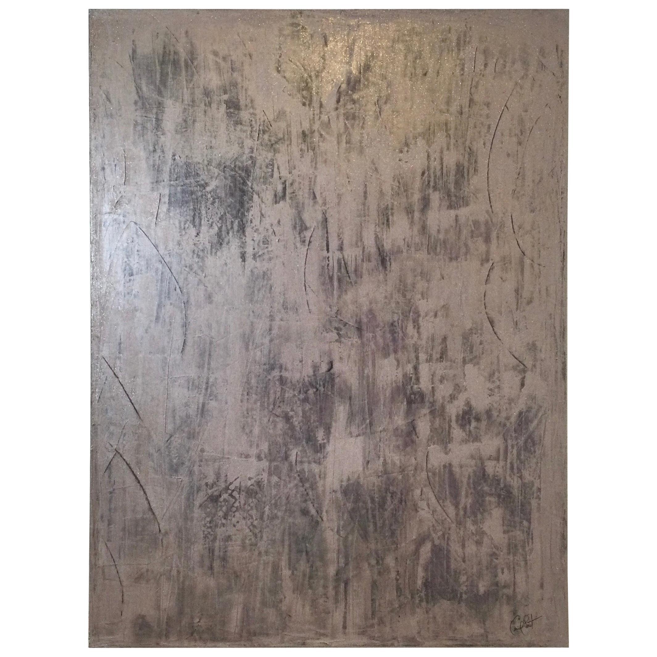 "Carol Post, ""Prayerful in Purple"", Venetian Plaster and Acrylic on Canvas"