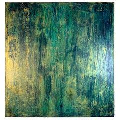 "Carol Post, ""Profondo Blue"", Venetian Plaster and Acrylic on Canvas, 2018"