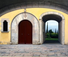 Altered - Classic Italian Piazza, Arched Doorways Leading to Lush Landscape, Oil