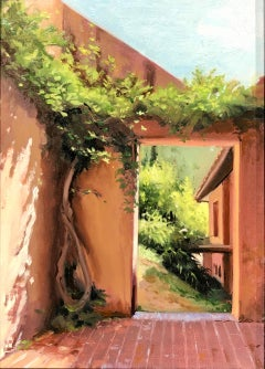 Artigas Wisteria, Architectural Landscape Painting with Lush Greenery
