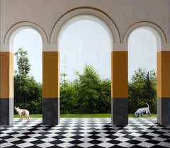 Before the End - Architectural Arches with Wooded Landscape & Dogs, Oil Painting