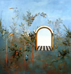 Bird Song, Gardenscape Taken from Ancient Roman Frescos, Original Oil Painting