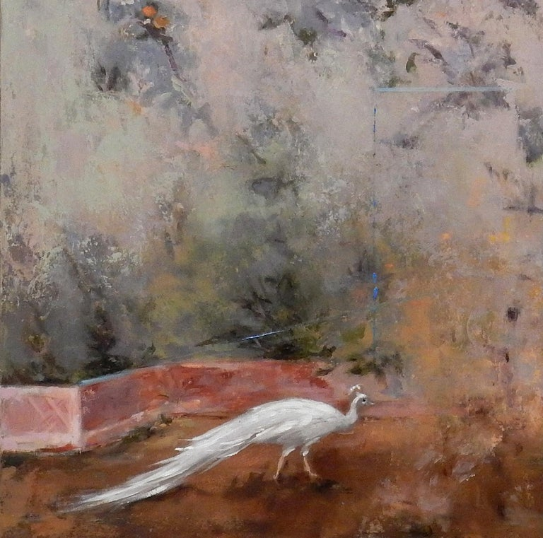 Cecare - Gardenscape with Birds Inspired by Ancient Roman Frescos, Oil on Panel - Painting by Carol Pylant
