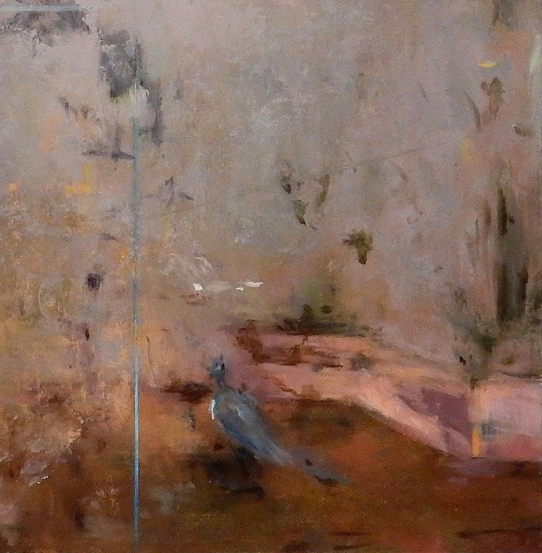 Cecare - Gardenscape with Birds Inspired by Ancient Roman Frescos, Oil on Panel - Gray Landscape Painting by Carol Pylant