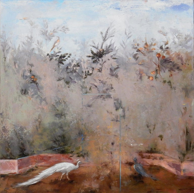 Carol Pylant Landscape Painting - Cecare - Gardenscape with Birds Inspired by Ancient Roman Frescos, Oil on Panel