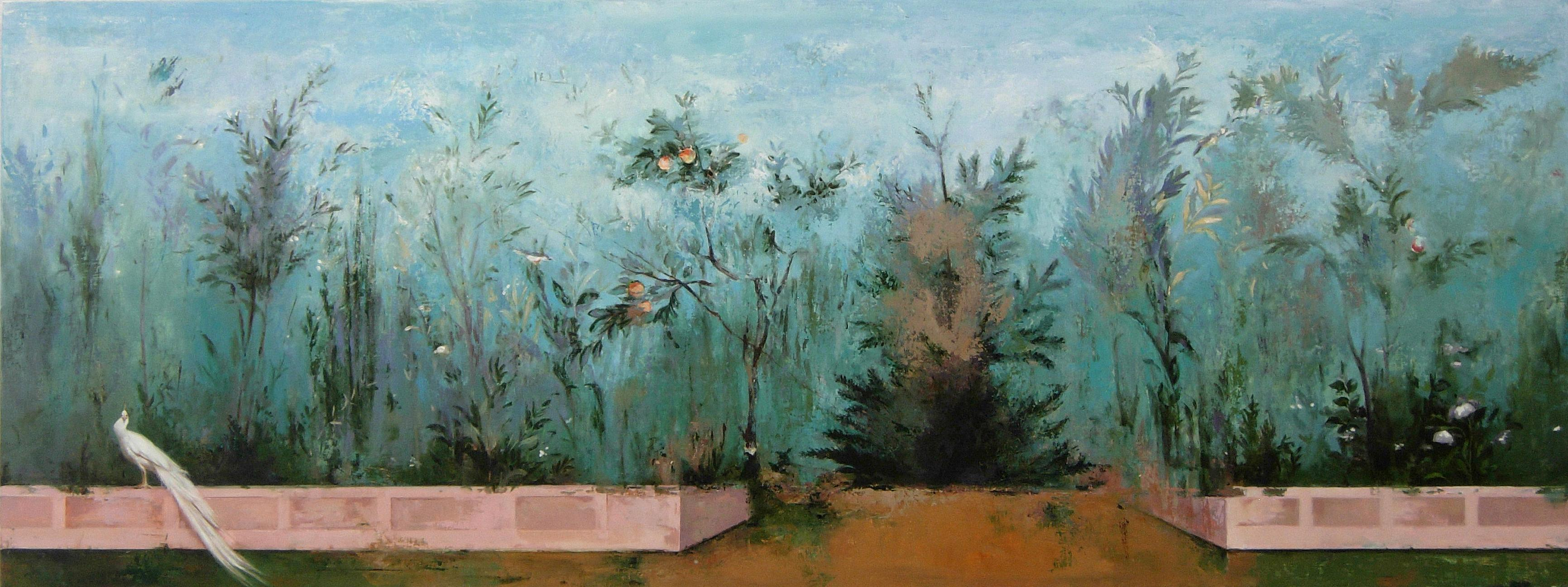 Il Muro, Large Scale Gardenscape Inspired by Ancient Roman Frescos, Oil on Panel