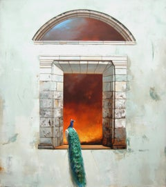 Inferno - Classic Architectural Stone Window with Peacock & Fire Scene