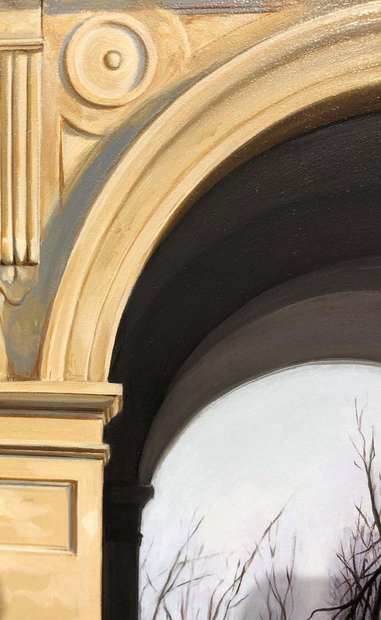 Medici Winter - Classic Architecture Facade with White Peacock and Winter Scene 3