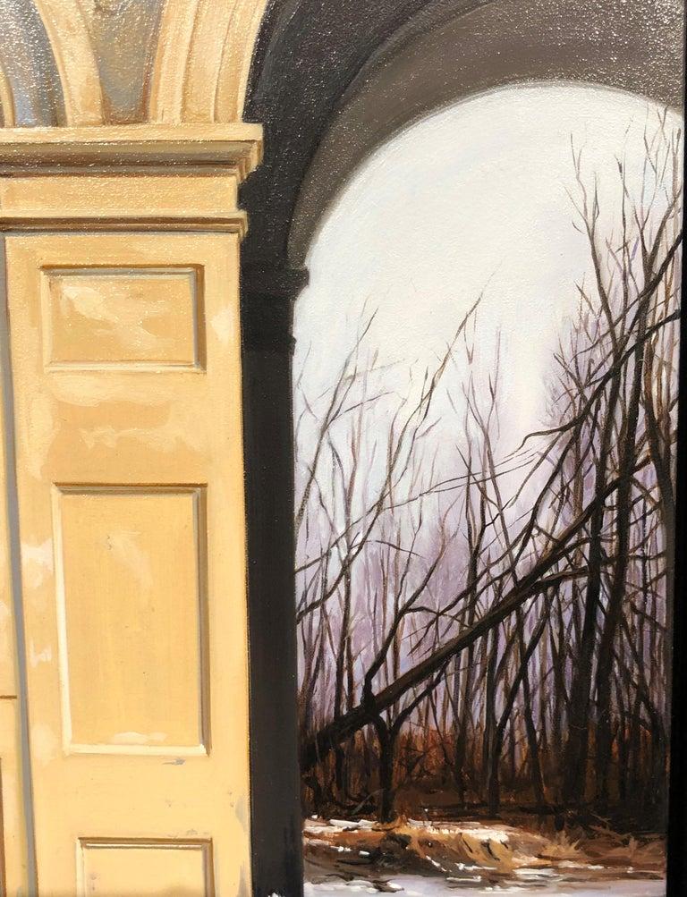 Medici Winter - Classic Architecture Facade with White Peacock and Winter Scene 4
