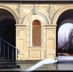 Medici Winter - Classic Architecture Facade with White Peacock and Winter Scene