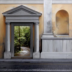 No Return - Architectural Facade with Lush Green Gardens, Oil Painting