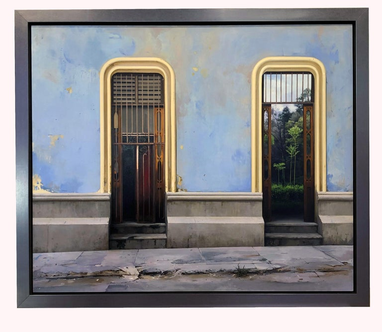 Perservancia - Cuban Architectural Sky Blue Stucco Walls Landscape, Oil Painting For Sale 4