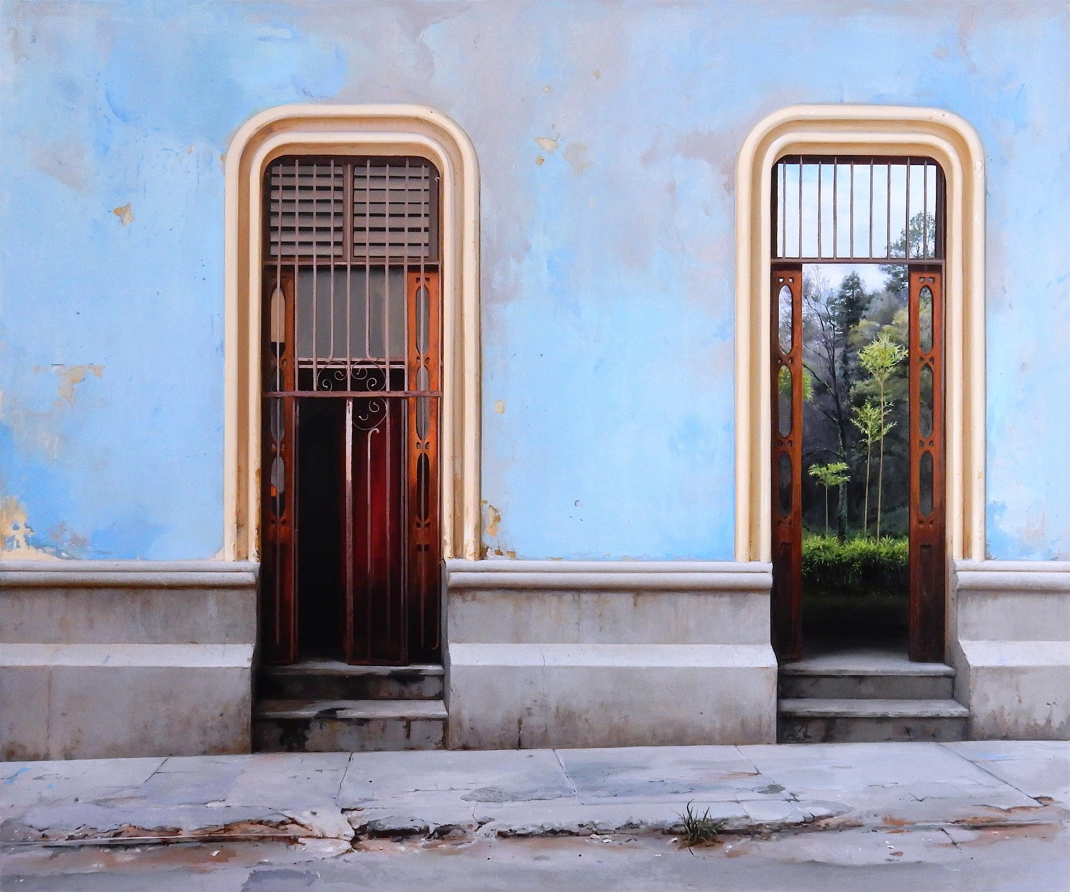 Perservancia - Cuban Architectural Sky Blue Stucco Walls Landscape, Oil Painting