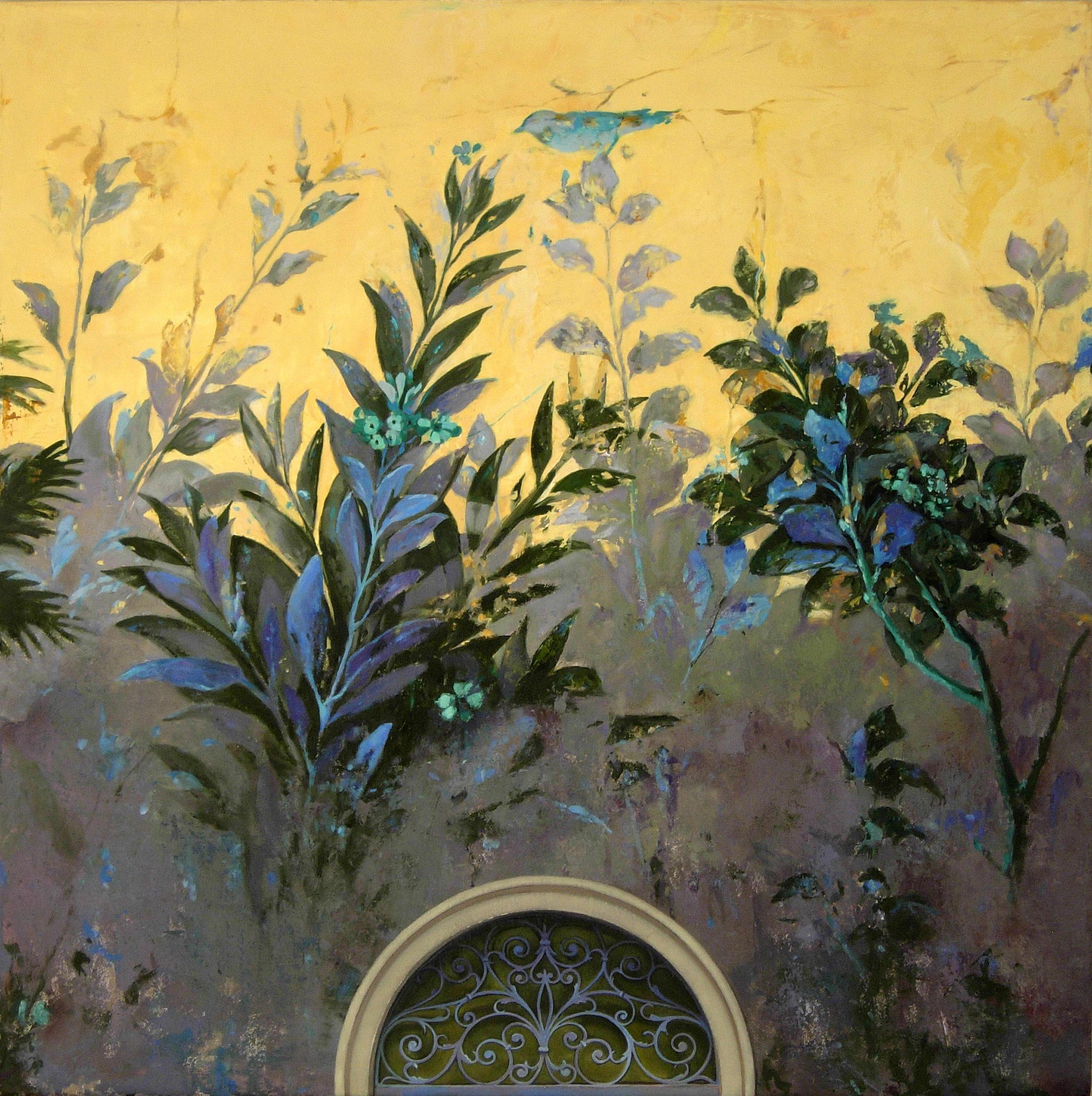 Sostenere, Gardenscape Inspired by Ancient Roman Frescos, Original Oil Painting