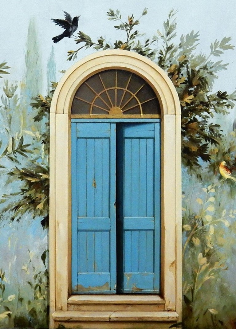 Uscita - Large Scale Trompe L'oeil Gardenscape Inspired by Ancient Roman Frescos - Painting by Carol Pylant