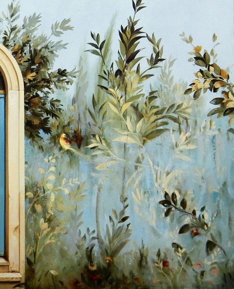 Uscita - Large Scale Trompe L'oeil Gardenscape Inspired by Ancient Roman Frescos - Gray Landscape Painting by Carol Pylant
