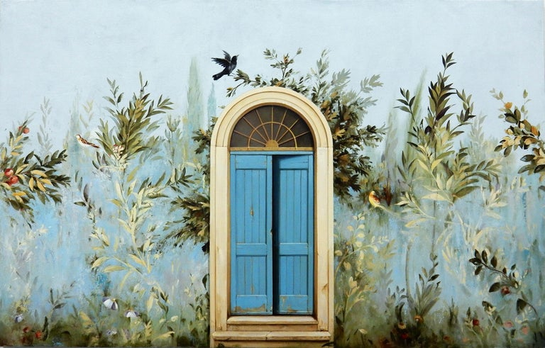 Carol Pylant Landscape Painting - Uscita - Large Scale Trompe L'oeil Gardenscape Inspired by Ancient Roman Frescos