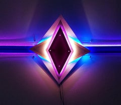 Carol Salmanson, Double Diamonds, 2018, LED, plexiglas, gels, irridescent paint