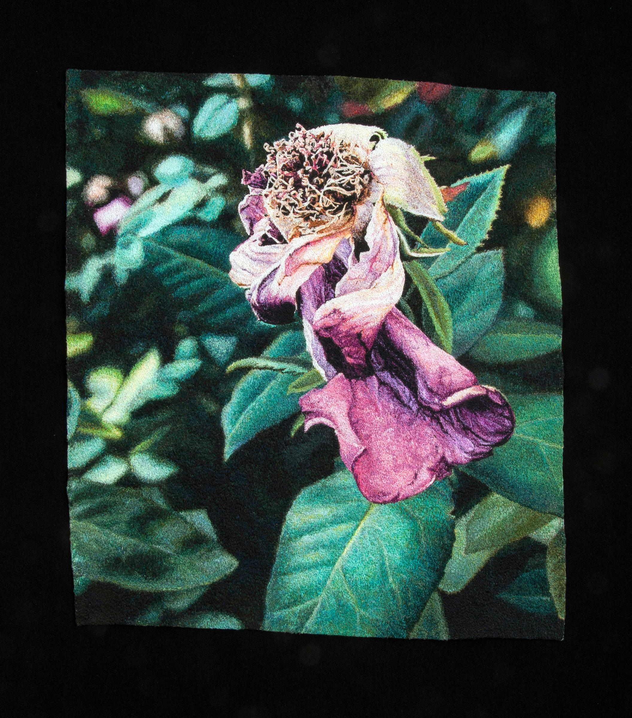 """""""Fading Rose"""", Contemporary, Framed, Textile, Embroidery, Photorealism"""