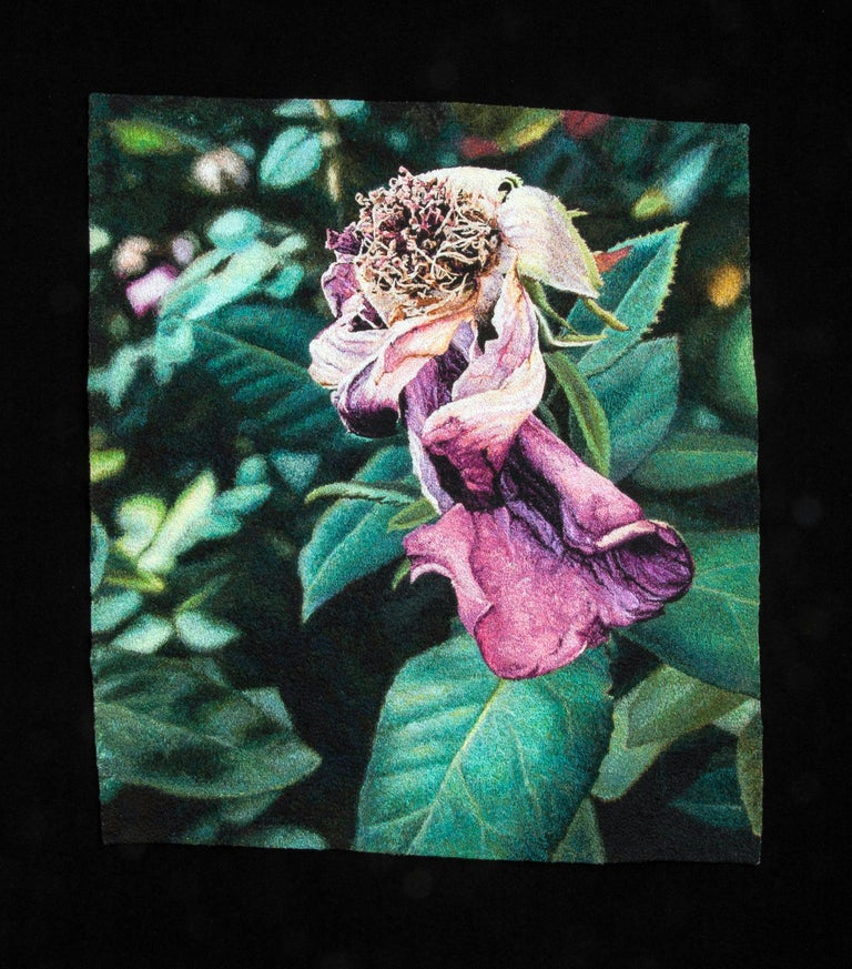 """""""Fading Rose"""", Contemporary, Framed, Textile, Embroidery, Photorealism - Art by Carol Shinn"""