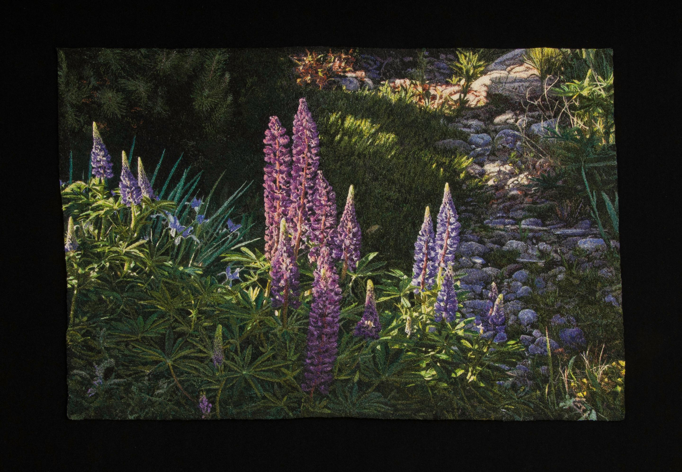 """""""Lupines"""", Contemporary, Framed, Embroidery, Photorealism, Nature, Landscape"""