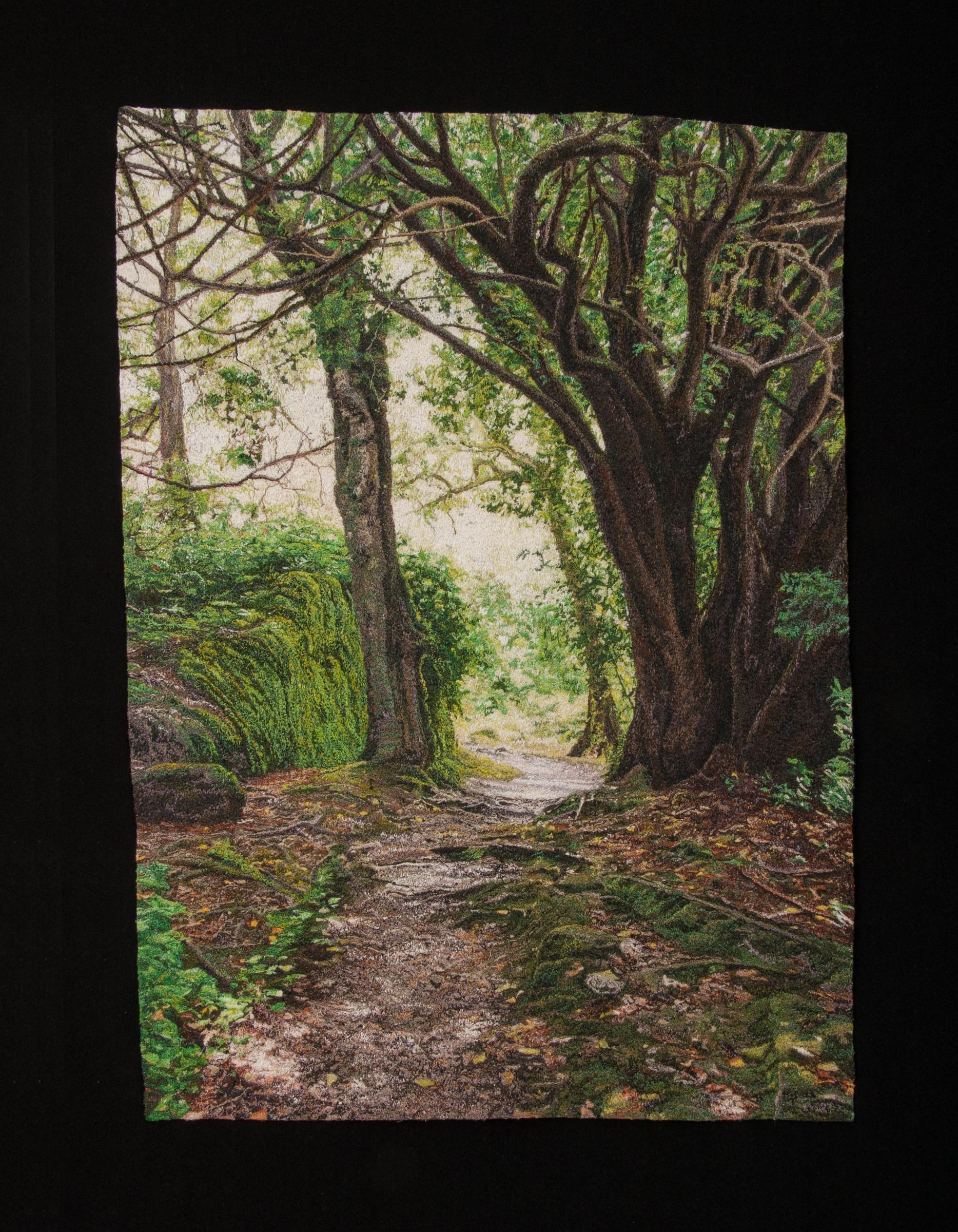 """""""Trees Along the Path"""", Contemporary, Embroidery, Framed, Nature, Earth Tones"""