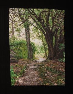 """Trees Along the Path"", Contemporary, Embroidery, Framed, Nature, Earth Tones"