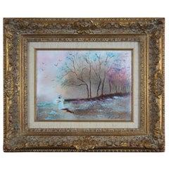Carol Simkin Enamel on Copper Impressionist Forest Landscape Painting w Figure