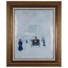 Carol Simkin Enamel on Copper Impressionist Winter Landscape Buggy Framed