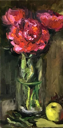 Pink Peonies with Green Apple, Painting, Oil on MDF Panel