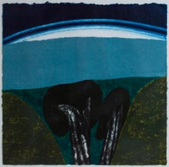 """""""Arroyo,"""" Woodcut and Monotype Landscape signed by Carol Summers"""