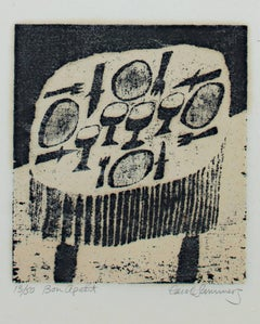 """Bon Apetit,"" Original Black and White Woodcut by Carol Summers"