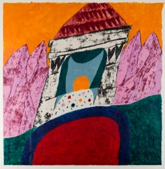"""Diocletian's Retreat,"" Woodcut and Monotype signed by Carol Summers"