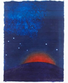 """Night Sky,"" Original Woodcut & Monotype Night Landscape signed by Carol Summers"