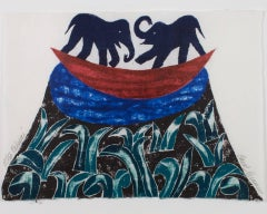 """Palepai,"" Original Woodcut Abstract Landscape Elephants signed by Carol Summers"