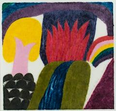 """Pura Vida"" original color woodcut print signed by Carol Summers"