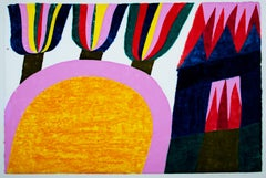 """Ravanna's Palace Burning,"" Woodcut Landscape signed by Carol Summers"